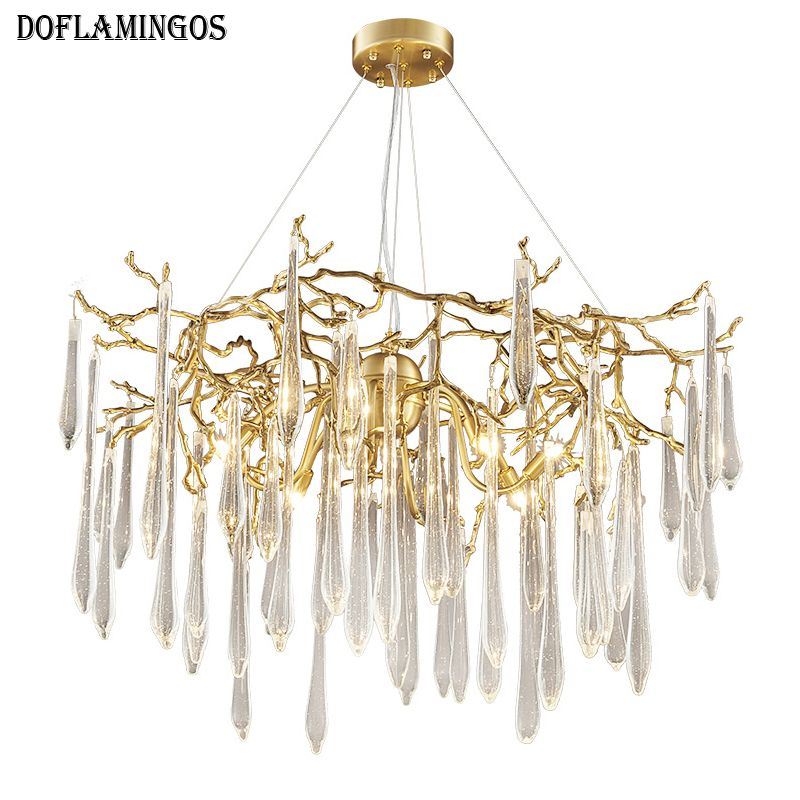 French High Quality Modern Living Room Re Chandeliers Luxury Villa Art Copper Crystal Chandelier Designer Champagne