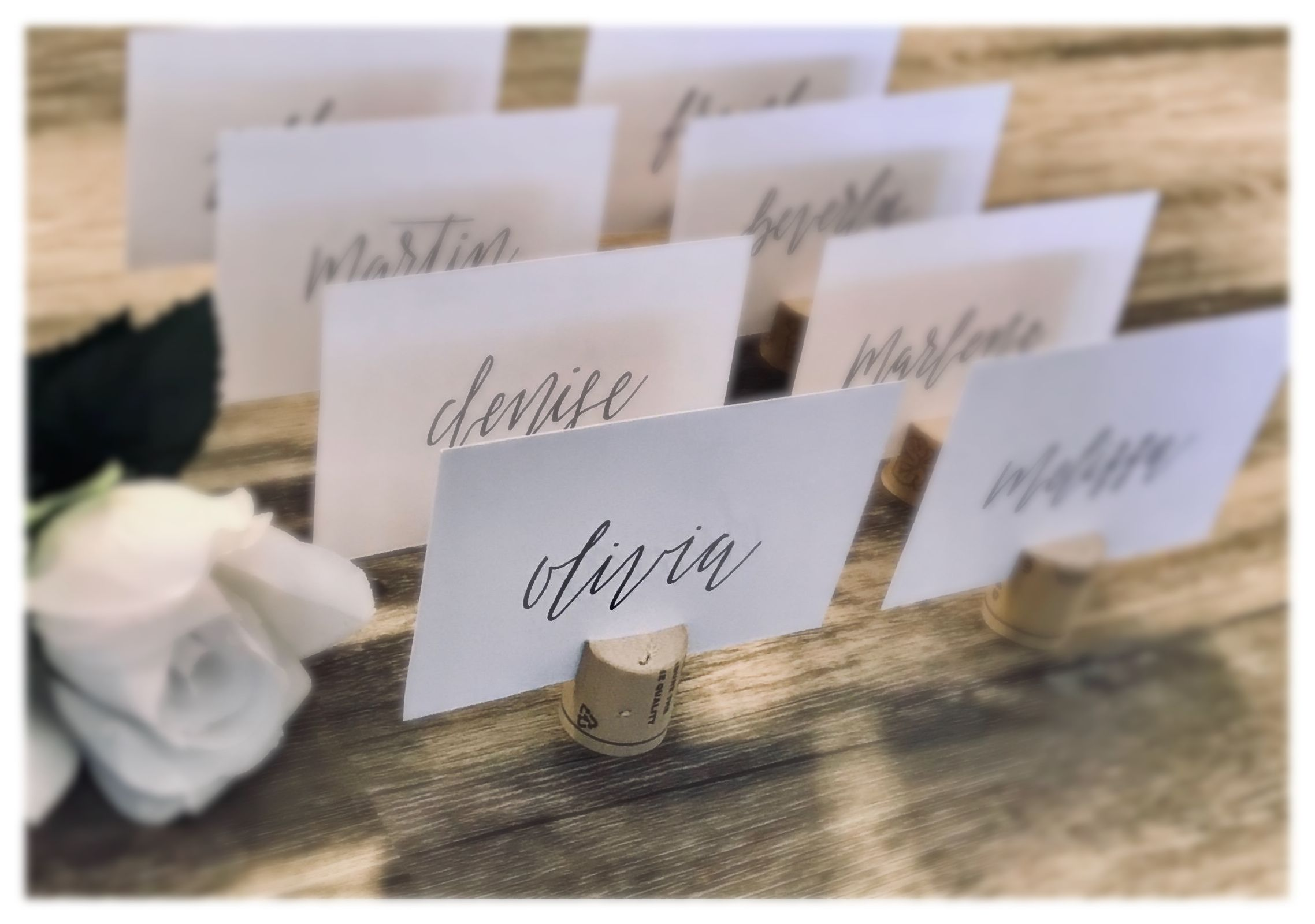 wedding name cards  flat name cards  place cards for