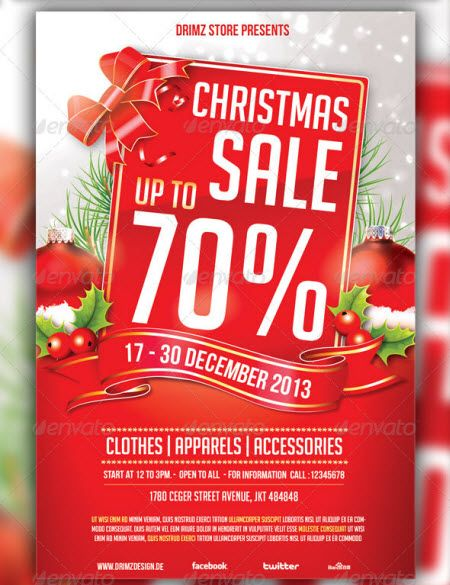 20 Christmas Sales Flyer template and Postor collection 2013 - for sale template free