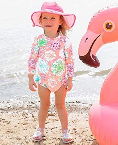 37a572ab87 Amazon.com: RuffleButts Baby/Toddler Girls UPF 50+ Sun Protection Long  Sleeve