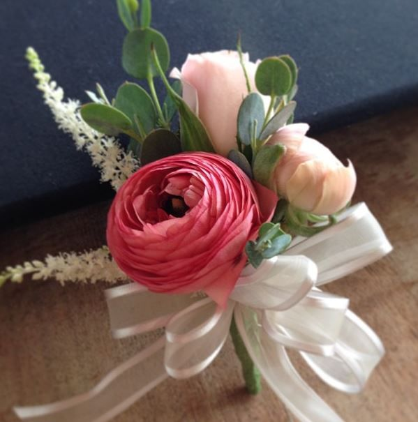 Pin On Corsage With Pink Ranunculus Spray Roses Astilbe Designed By Owens Flower Shop Lawrence Ks Bridal Shower Corsages Corsage Wedding Prom Flowers