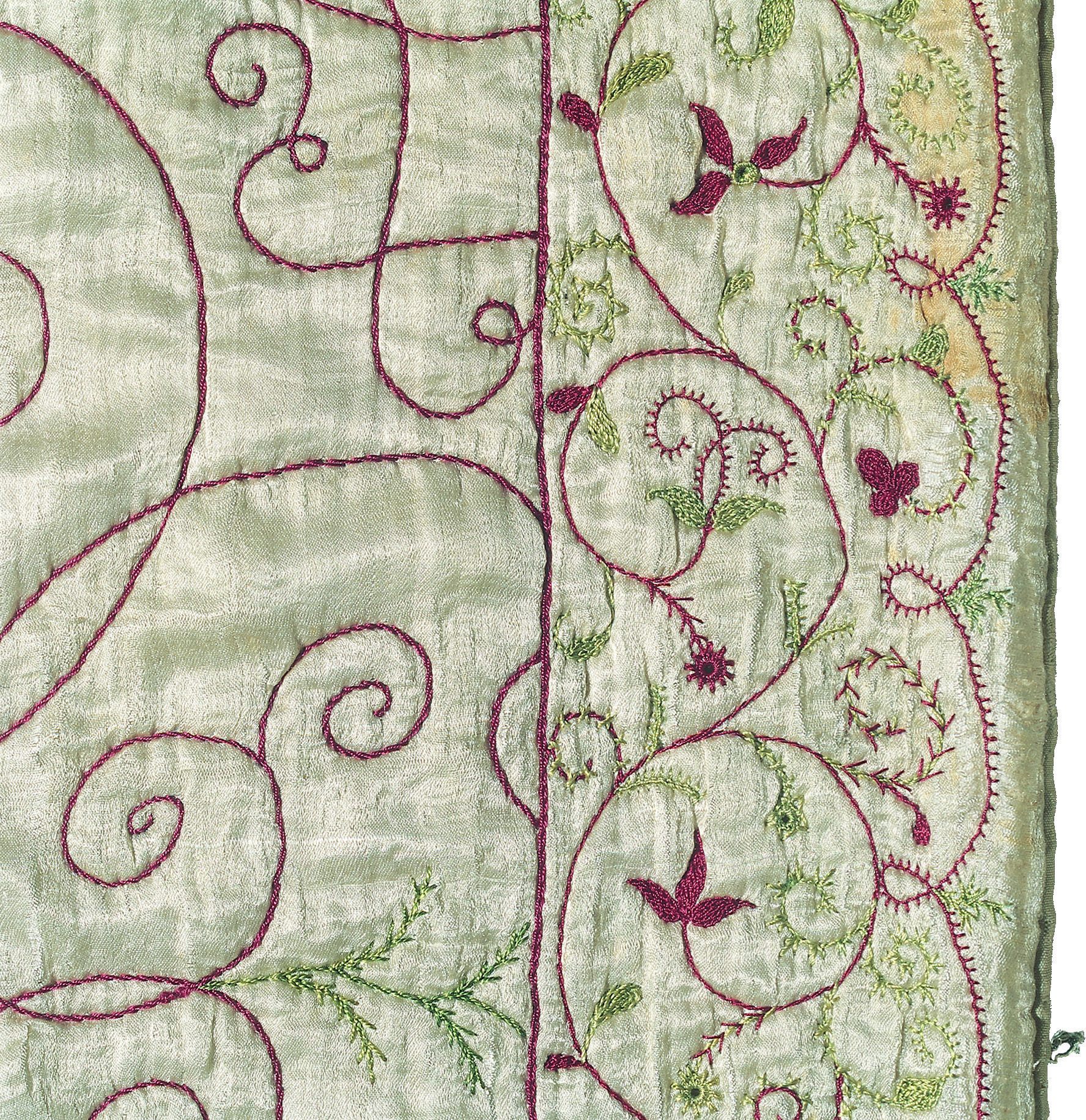 Embroidered border of th century crib quilt all in silk dutch
