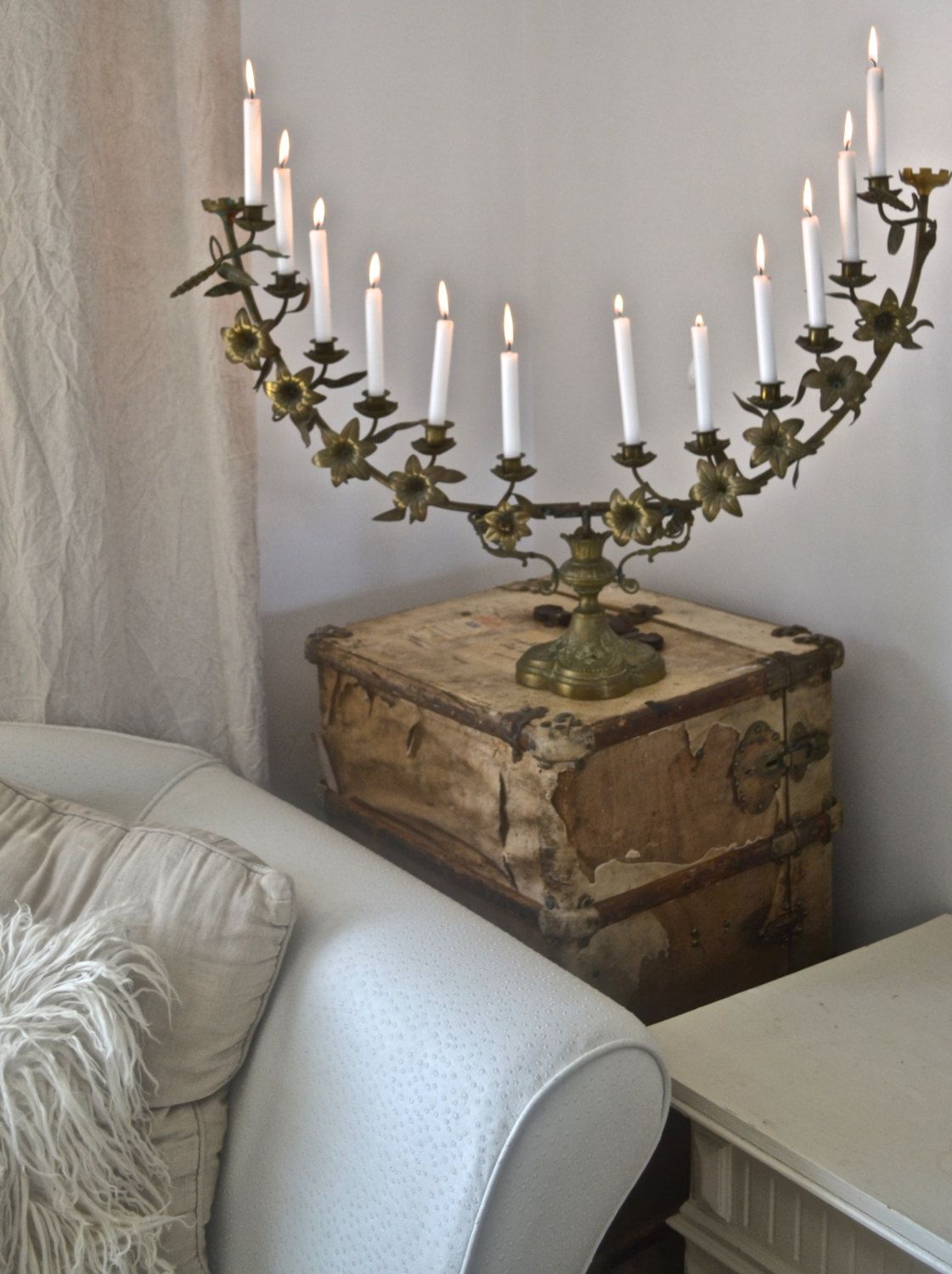 Antique French Huge Church Alter Candelabra by