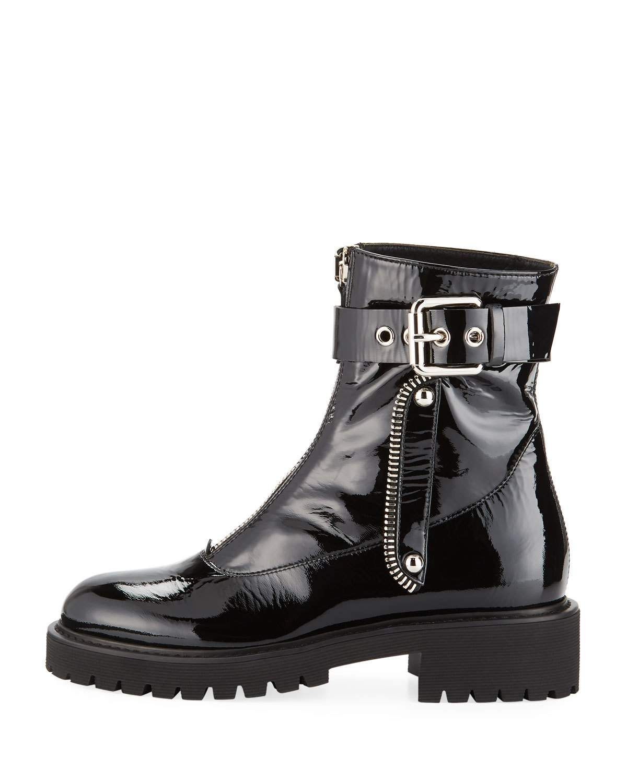 9bda0ce6b0e10 Giuseppe Zanotti Patent Leather Front-Zip Combat Boots | SHOEGASM