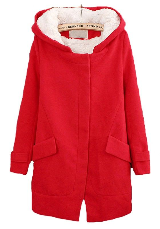 Red Pockets Long Sleeve Thick Dacron Wool Coat | fashionista ...