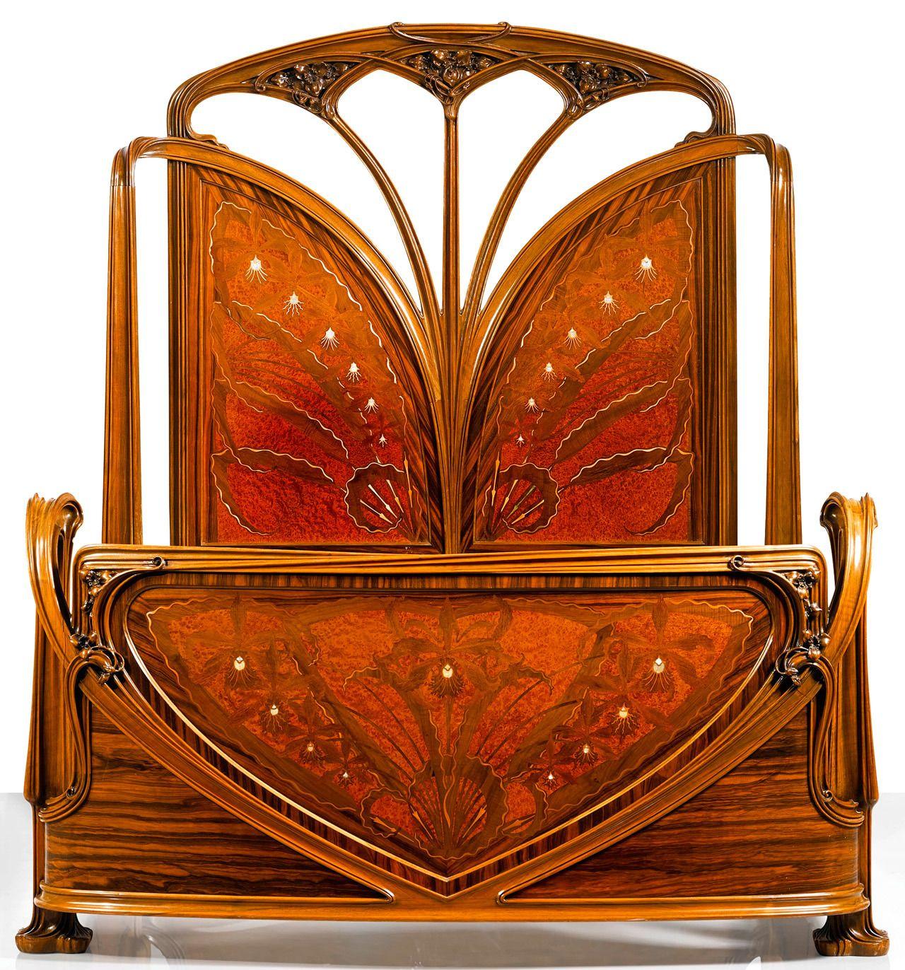 """Art Nouveau Walnut 3 Piece Bedroom Suite: Ufansius: """" Walnut And Macassar Ebony Aux Orchideés (The"""