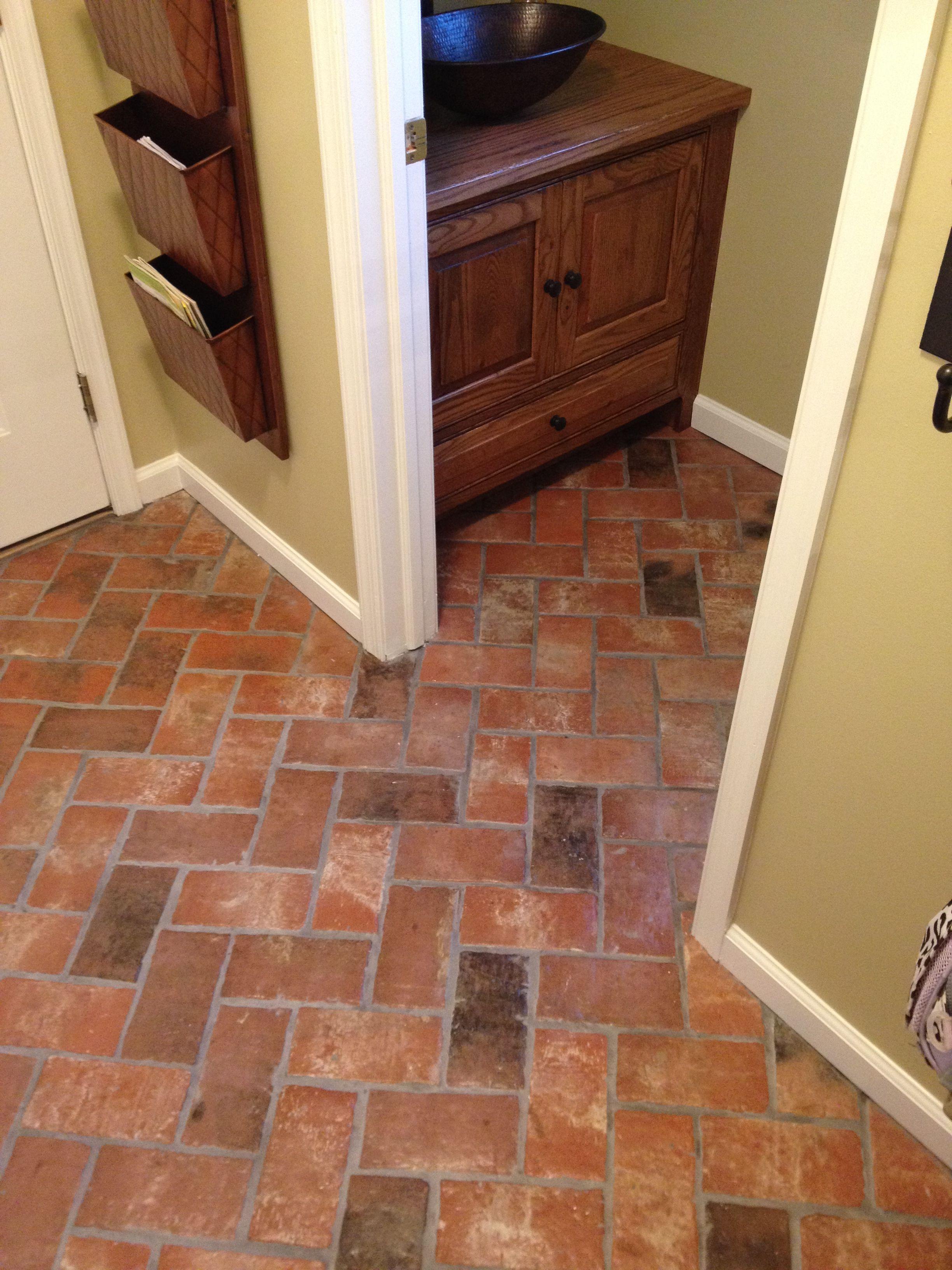 Wright S Ferry Brick Tile Entry Floor Marietta Color Mix With A Shiny Sealer Brick Flooring Brick Tile Floor Flooring