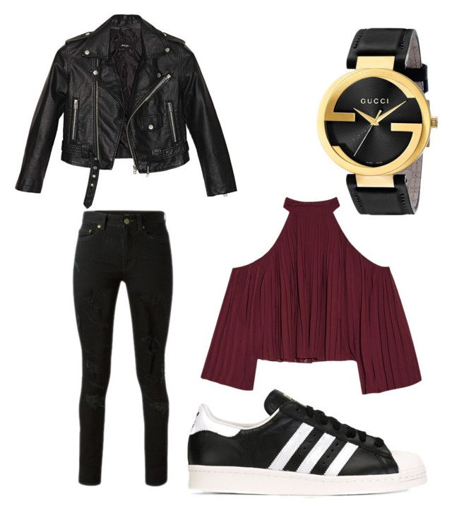 """""""Geen titel #11"""" by ferras-martine on Polyvore featuring mode, W118 by Walter Baker, Nasty Gal, Yves Saint Laurent, Gucci en adidas Originals"""