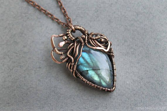 Blue labradorite pendant fairy artisan necklace gift for blue labradorite pendant fairy artisan necklace gift for girlfriend bridal wire wrapped copper handmade jewelry fantasy vintage necklace mozeypictures Choice Image