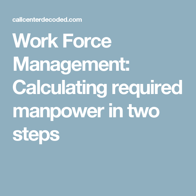 Work Force Management: Calculating Required Manpower In
