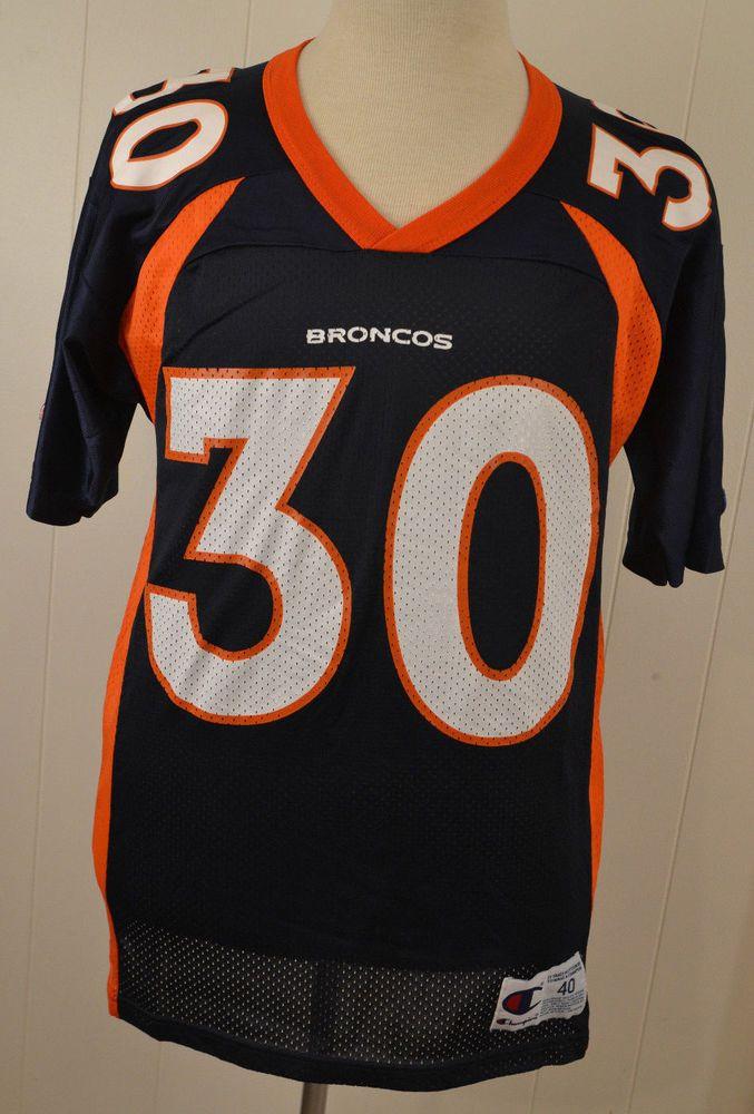 Vintage Champion Denver Broncos  30 Terrell Davis Jersey Adult Size 40 Blue   Champion  DenverBroncos 3326ea5ee