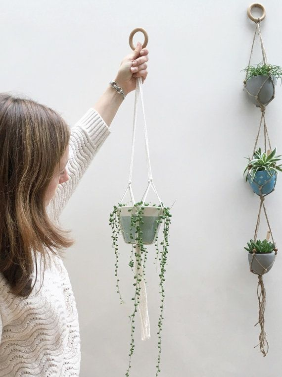 Medium ceramic hanging planter with macrame by KtRobbinsCeramics