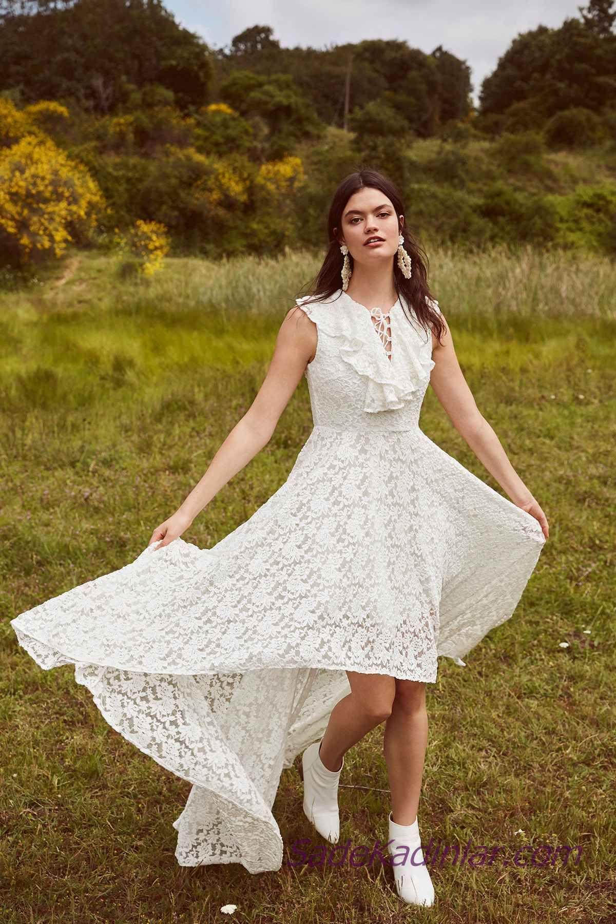 En Guzel 2020 Beyaz Elbise Modelleri On Kisa Arkasi Uzun Kolsuz Bagcikli Yaka Dantel Elbise Modelleri The Dress Elbise