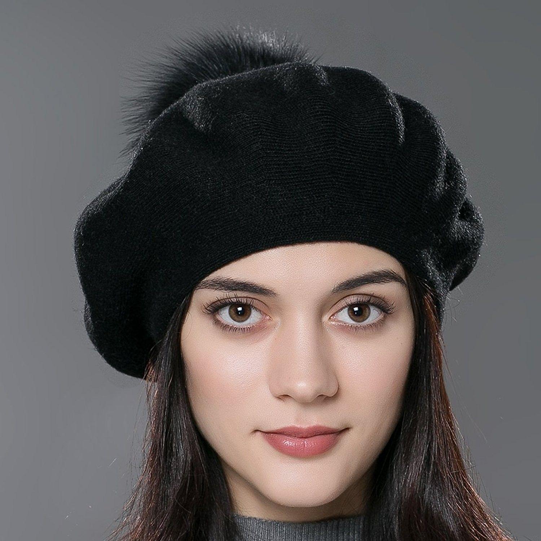 c8eb6fbe6ed Unisex Winter Hat Womens Knit Wool Beret Cap with Fur Ball Pom Pom - Black  - C312MAJ8RFP - Hats   Caps