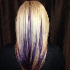 Blonde With Peek A Boo Lowlights Violet Purple Hair
