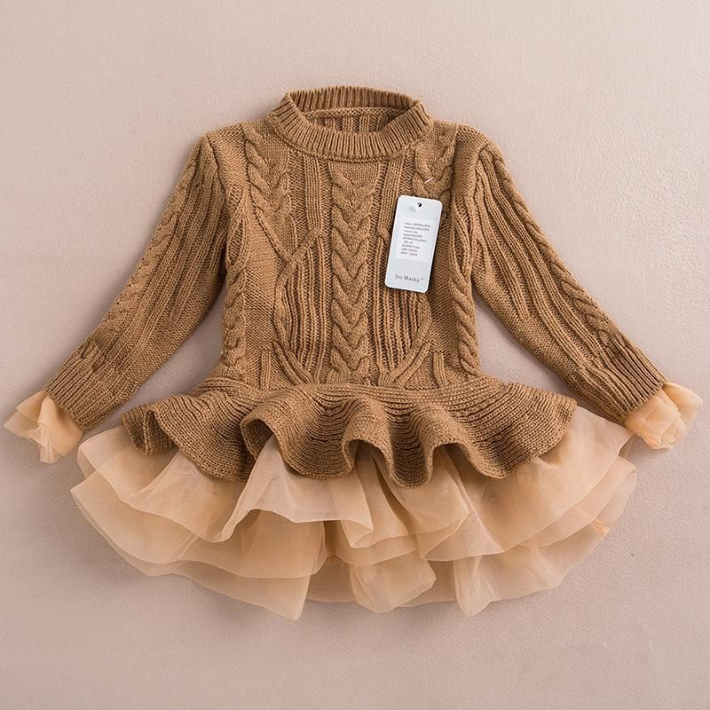 2015 autumn winter girls knit sweater dresses baby girl tulle lace ...