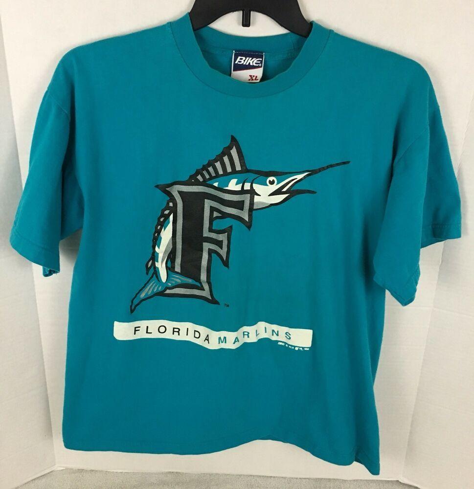 Vintage 90s Florida Marlins T Shirt BIKE XL Baseball