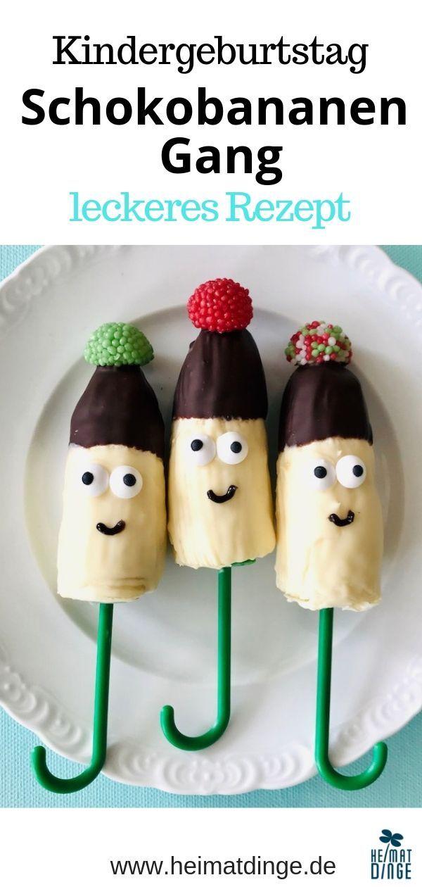 Schokobananen Rezept: einfacher Kinderparty Snack für den Kindergeburtstag -