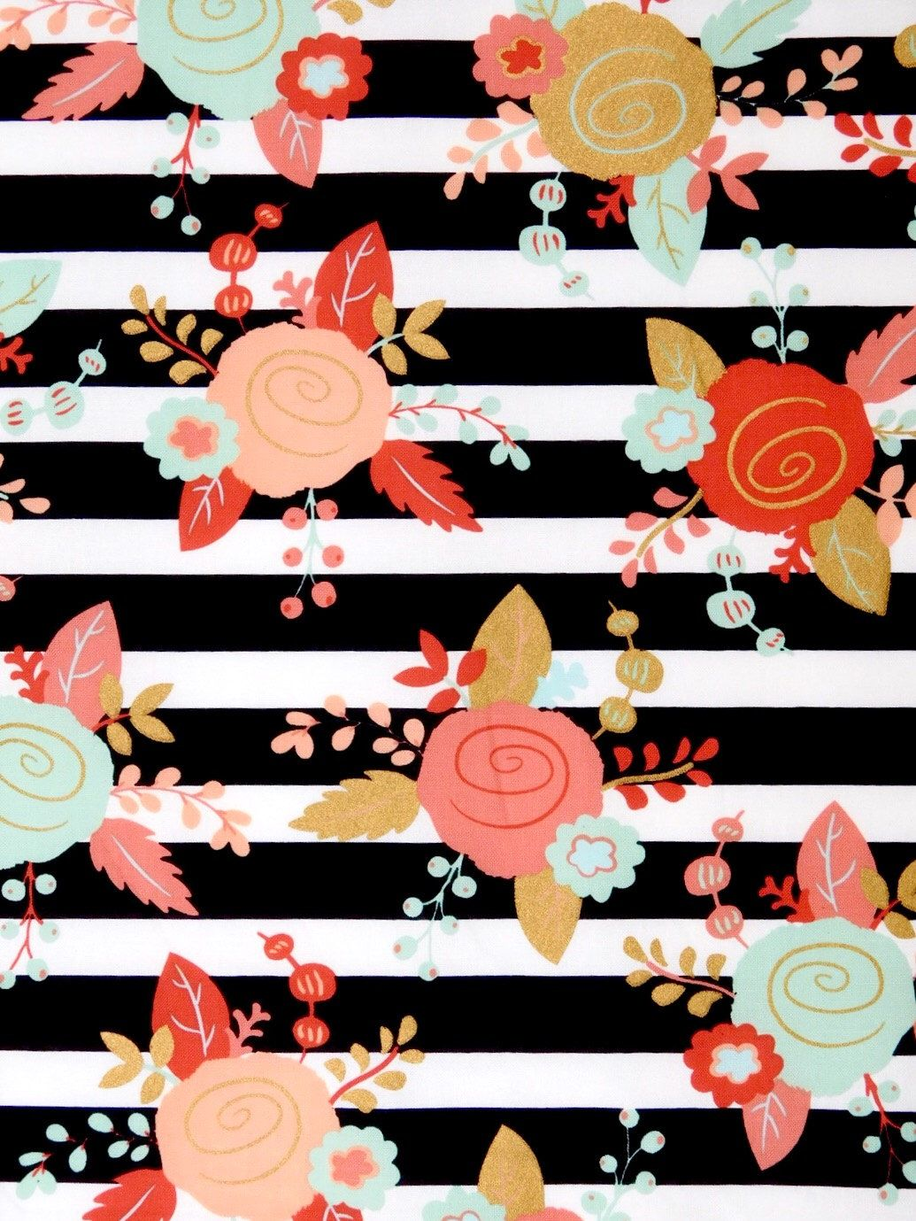 Floral Black And White Stripes Fabric Boho Fabric Mint