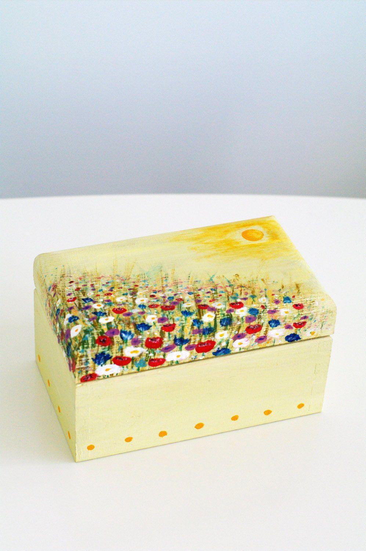 Wooden Jewelry Trinket Storage Box Hand Painted Yellow Mandala Jewelry Box
