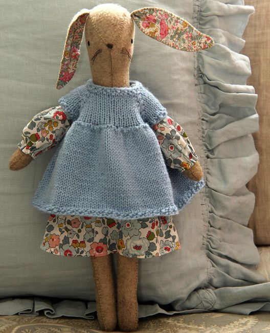 $6 for the bunny sewing pattern, $3 for the knitted dress pattern, other knit clothes available, hoodie, etc...