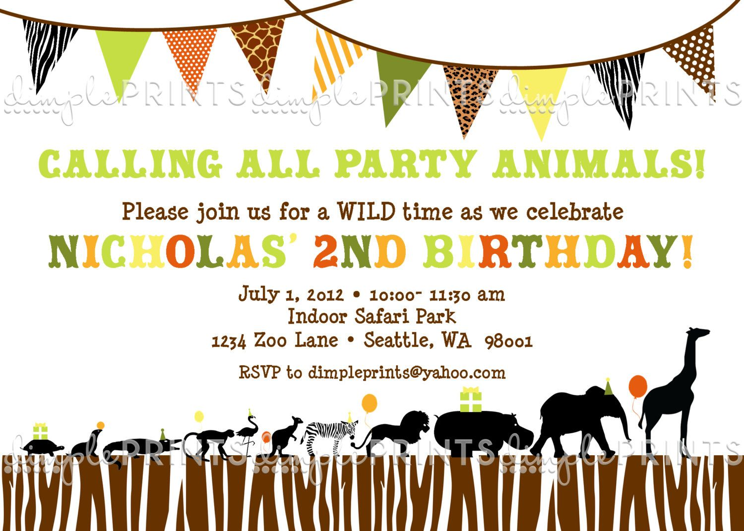 Safari Animal Zoo Custom Printable Digital Photo Birthday