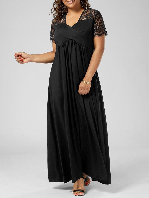 V neck lace trim plus size formal dress Прочее Женская одежда