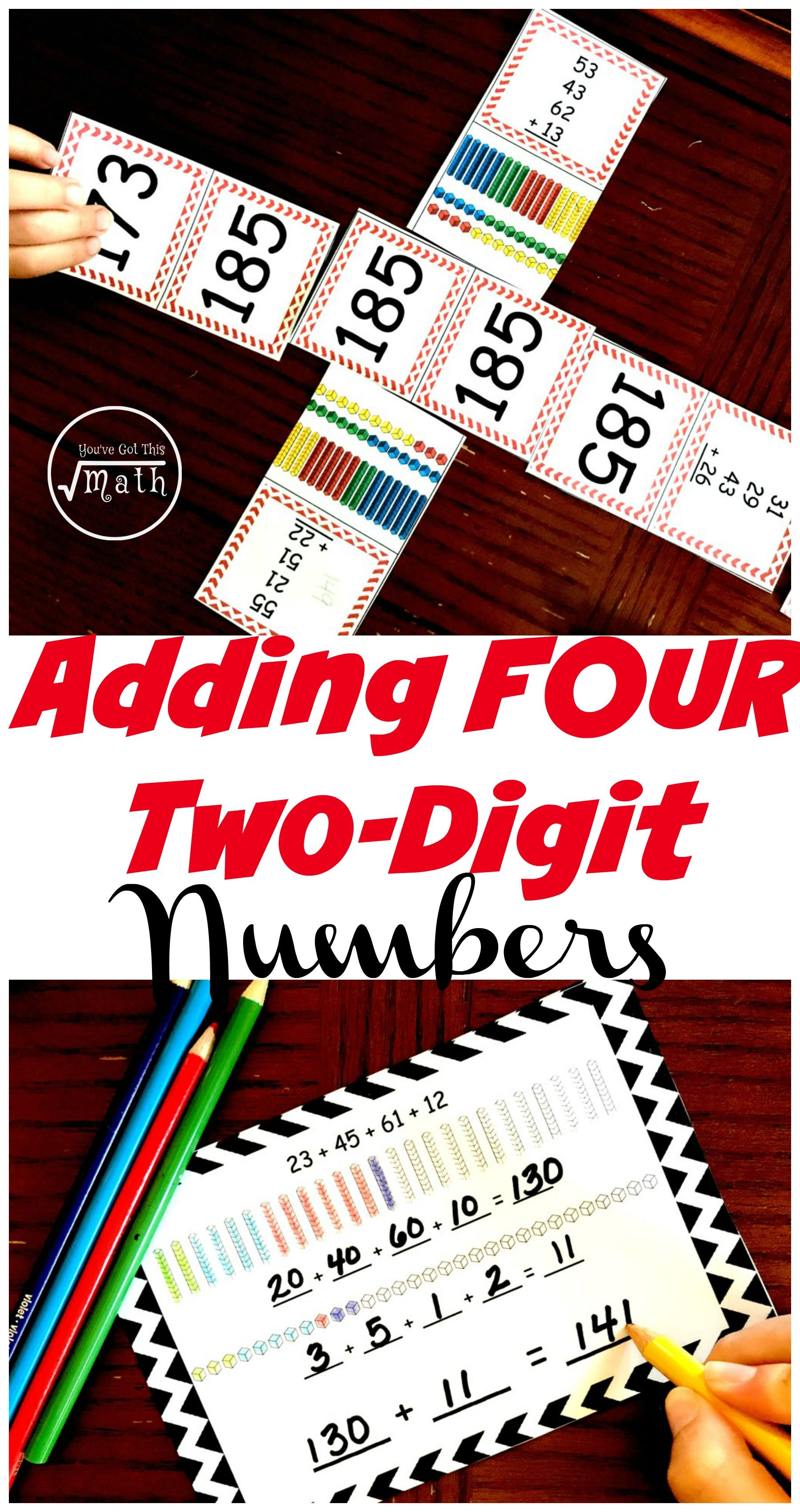 Practice Adding Four Two Digit Numbers With Task Cards And