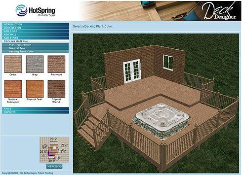 A Free Online Deck Designer Love This Hot Tub Deck Hot Tub Deck