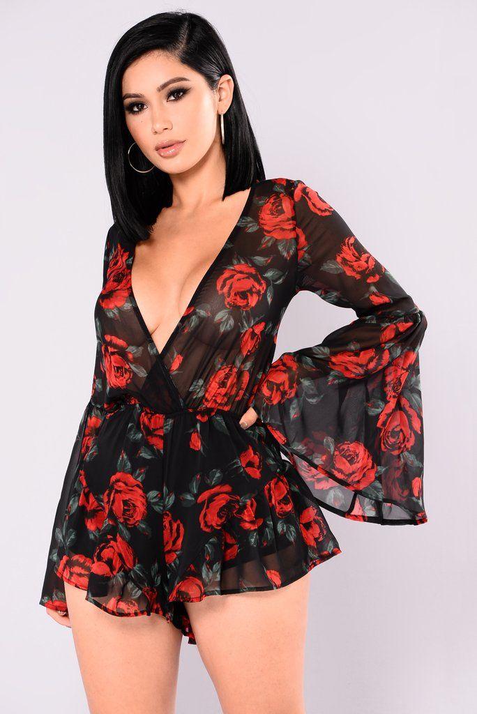 472a9096bfd Rose Floral Romper - Black in 2019