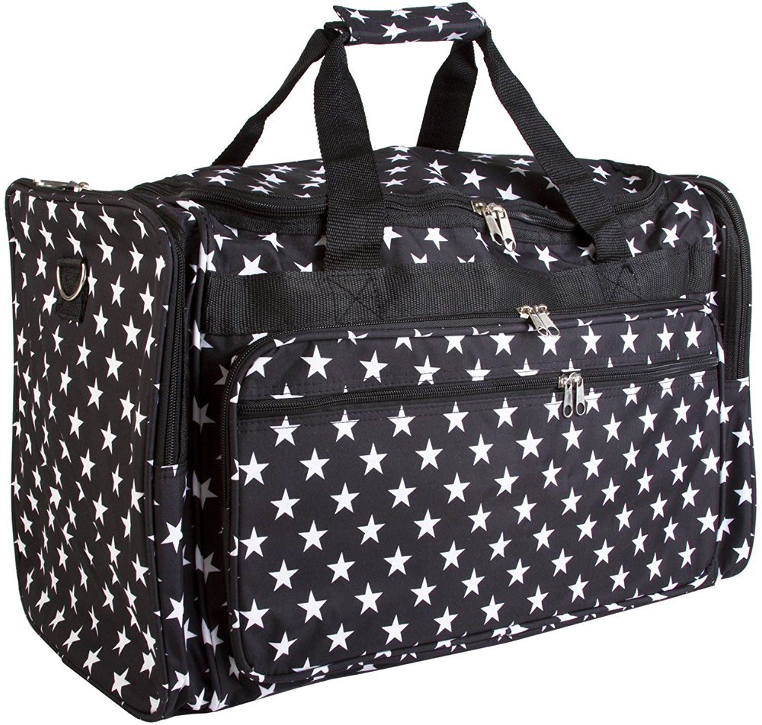 5262a3c4f6b World Traveler Stars 22 in Travel Duffel Bag Black White Stars