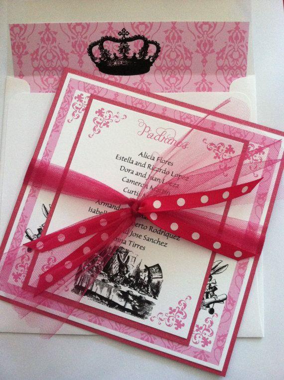 printed alice in wonderland birthday quinceanera bridal shower