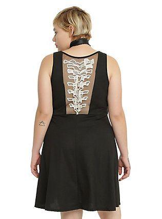 Spine Back Fit & Flare Tank Dress Plus Size, BLACK