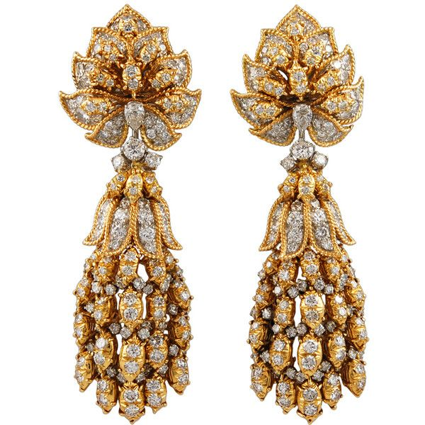 HARRY WINSTON Diamond Gold Earrings Designed By Shinde ❤ liked on Polyvore featuring jewelry, earrings, gold diamond jewelry, yellow gold diamond earrings, gold jewellery, diamond jewellery and gold diamond earrings