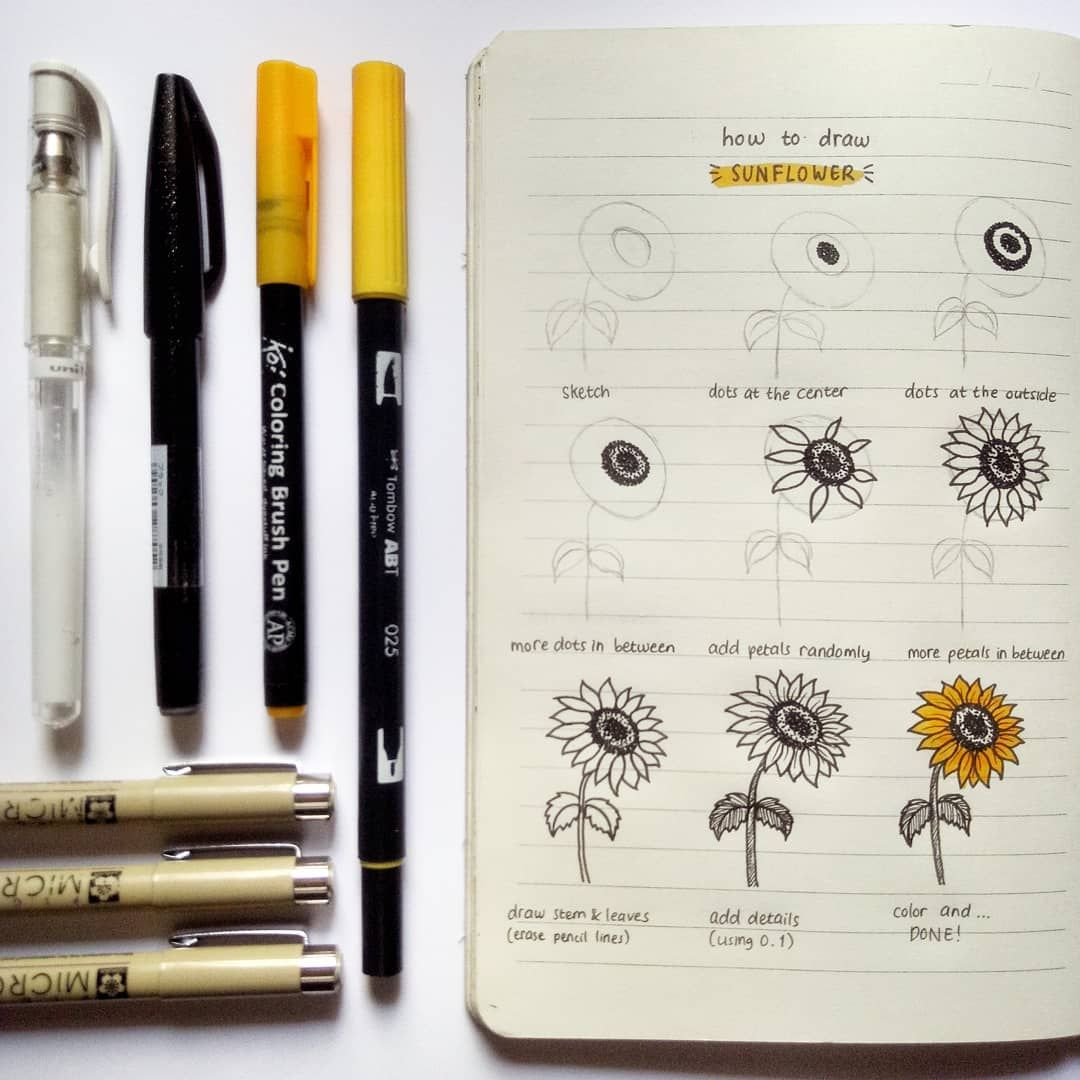 Sunflower Tutorial Journa Bullet Journal Notebook Bullet