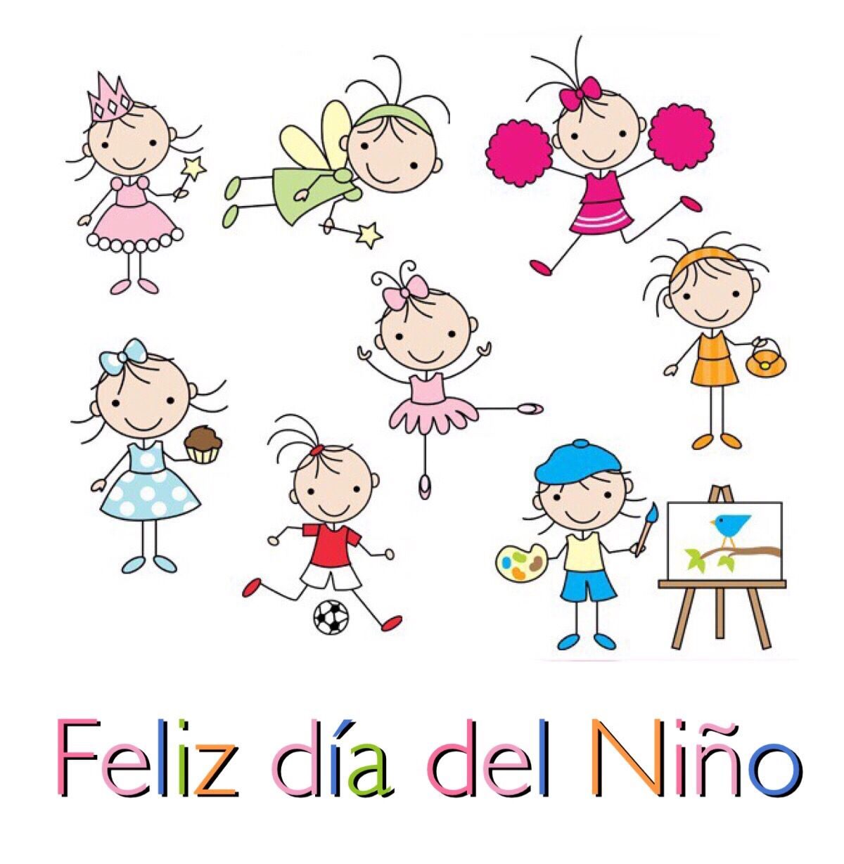 Feliz Dia Del Nino Figura Con Palos Arte De Pales Dibujos Para Ninos