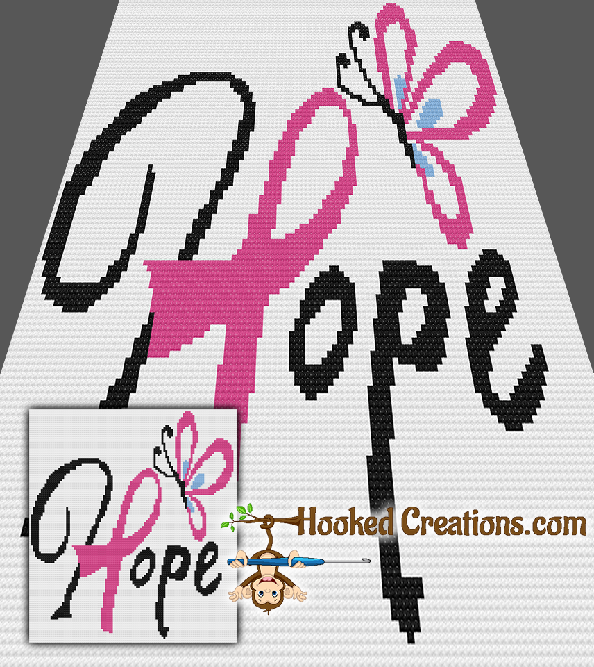DOMESTIC VIOLENCE AWARENESS RIBBON Crochet GRAPH Afghan Pattern