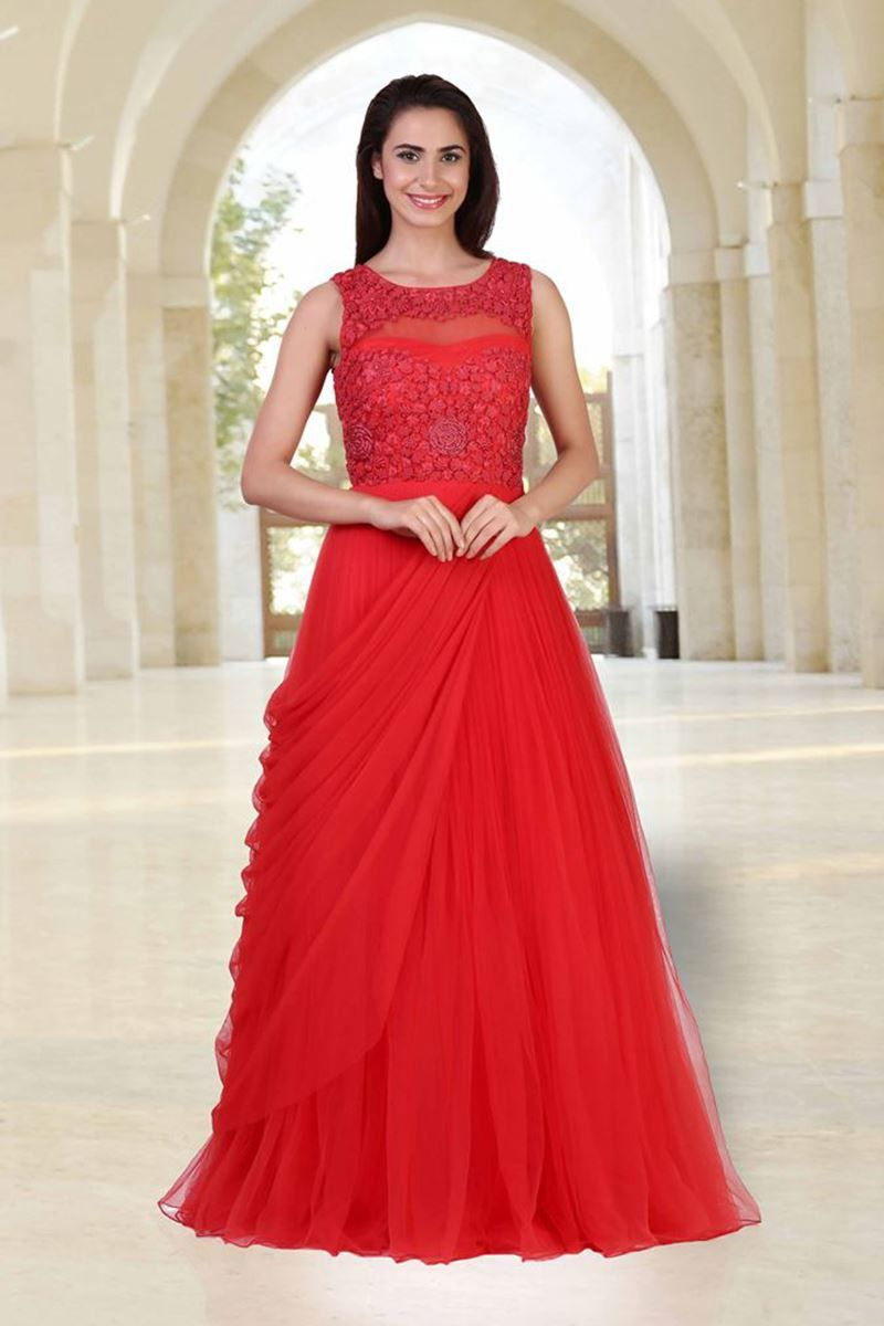 Picture of subtle red gown with french knot work formal indian