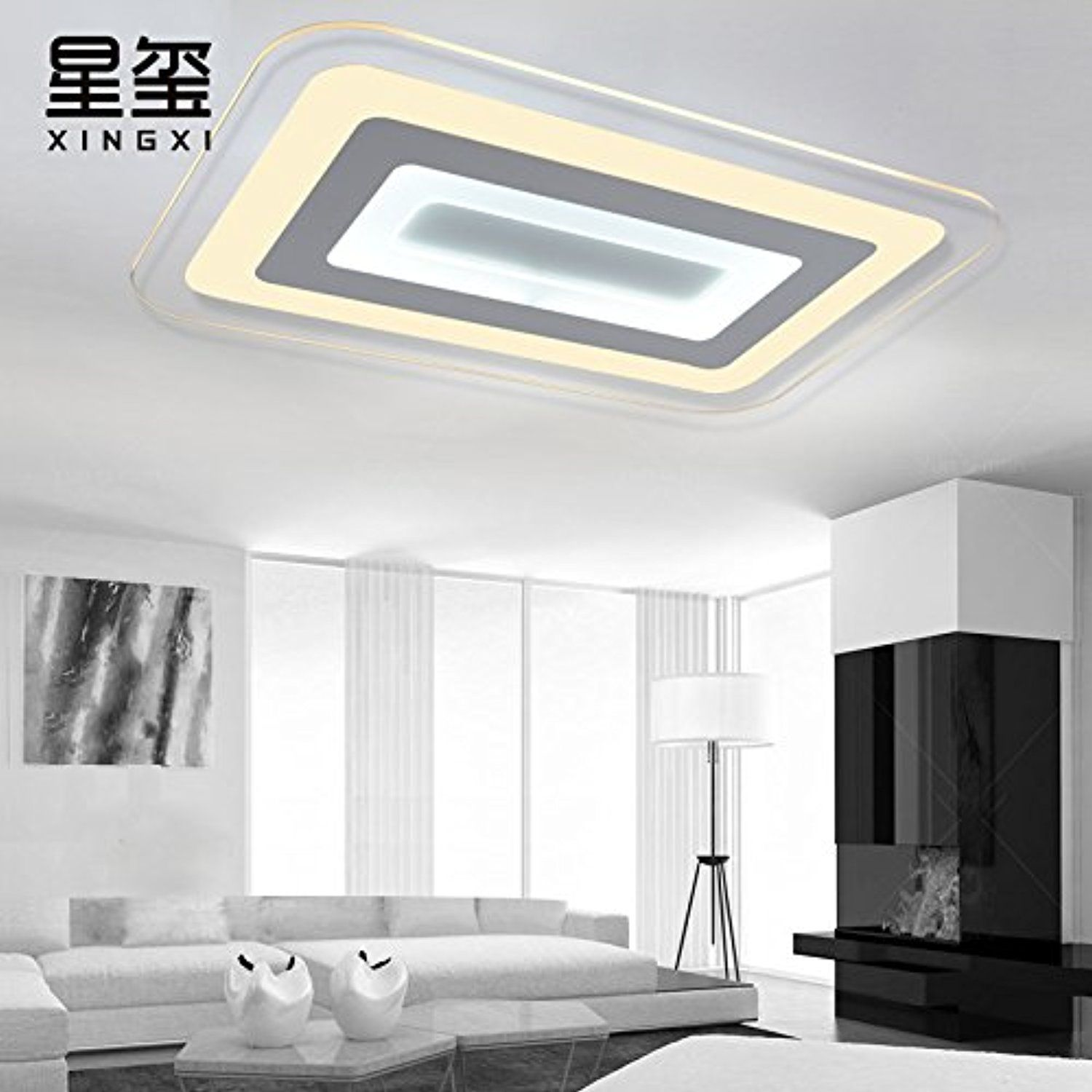 Ultra Thin Atmospheric Rectangular Living Room Ceiling Light