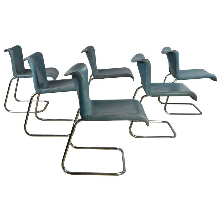 Set Of 6 Vintage Blue Leather And Chrome Dining Chairs Dining Chairs For Sale Dining Chairs White Dining Chairs