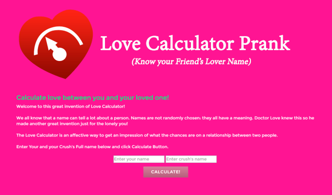 Fake Love Calculator Prank To Know Your