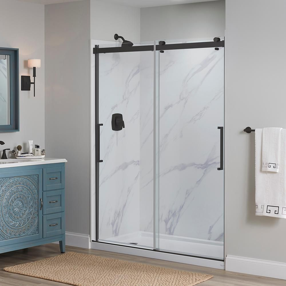 Foremost Lagoon 60 In W X 76 In H Semi Frameless Sliding Shower Door In Matte Black With Vertical Handles Lgdrv6076 Cl Mb The Home Depot In 2020 Shower Doors Sliding Shower Door Frameless