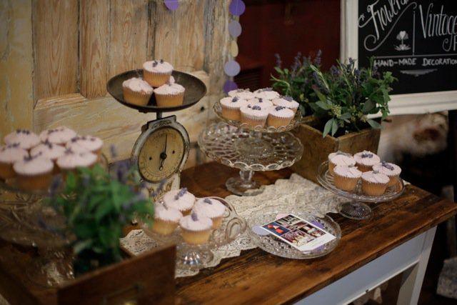 vintage style lavender cupcakes made for (Re)loved vintage rentals