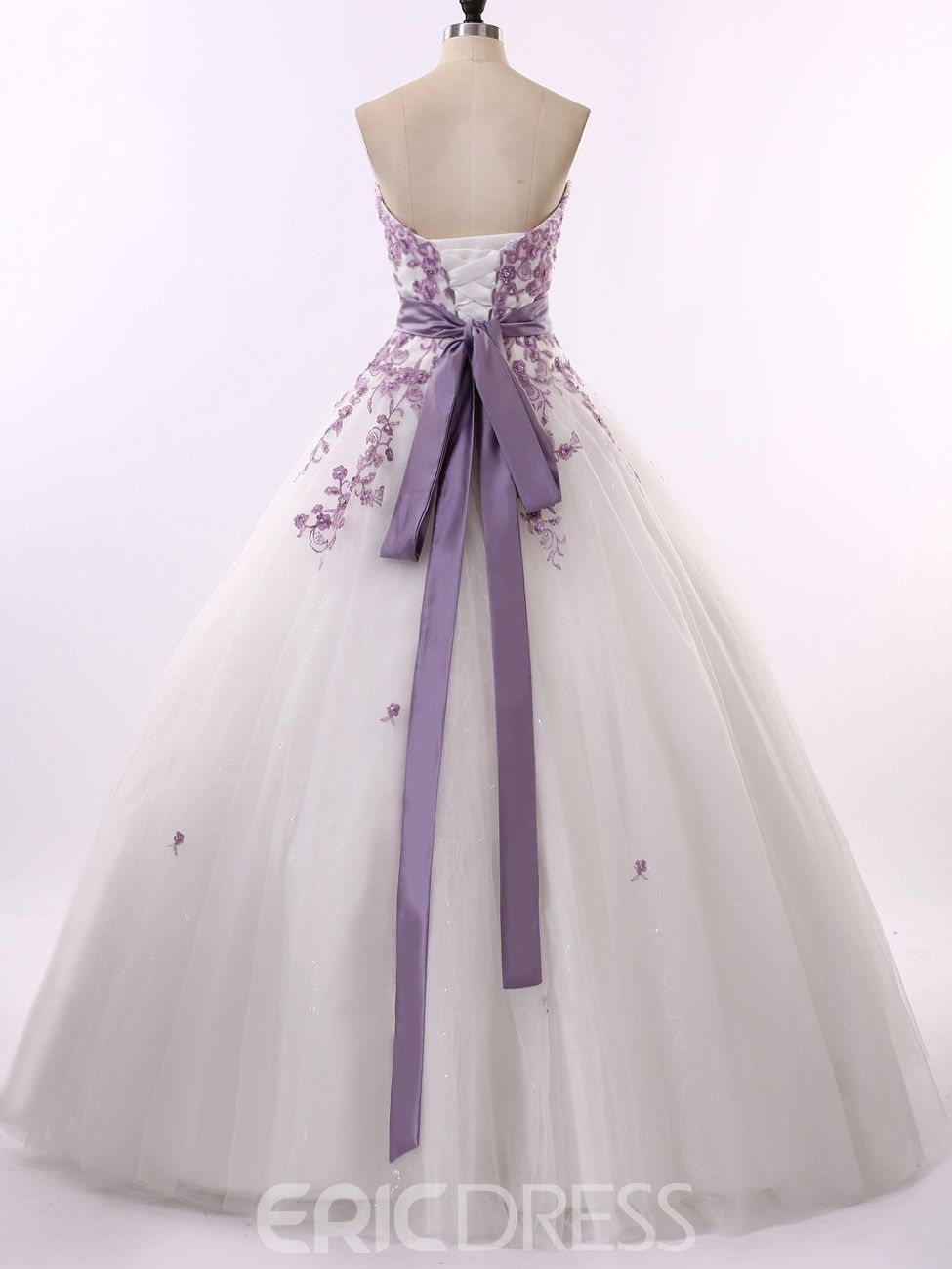 Strapless Appliques Ball Gown Wedding Dress  Lila kleid hochzeit