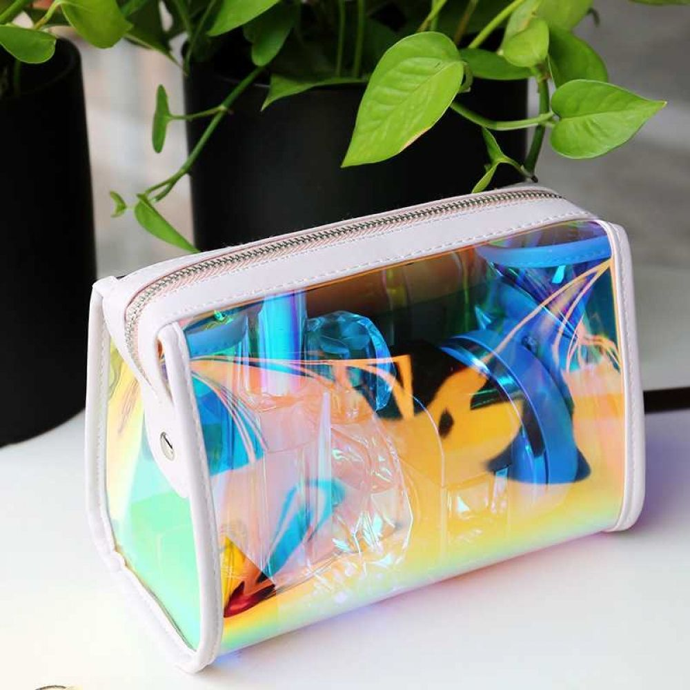 Transparent Holographic Large Cosmetic Bag