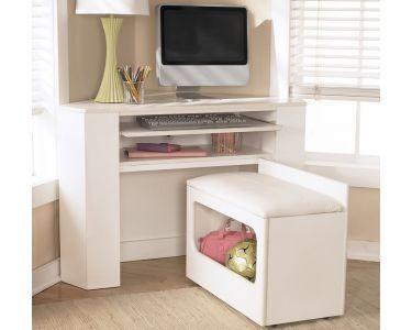 Image Detail For  Lulu White Corner Desk Media Unit Storage Stool