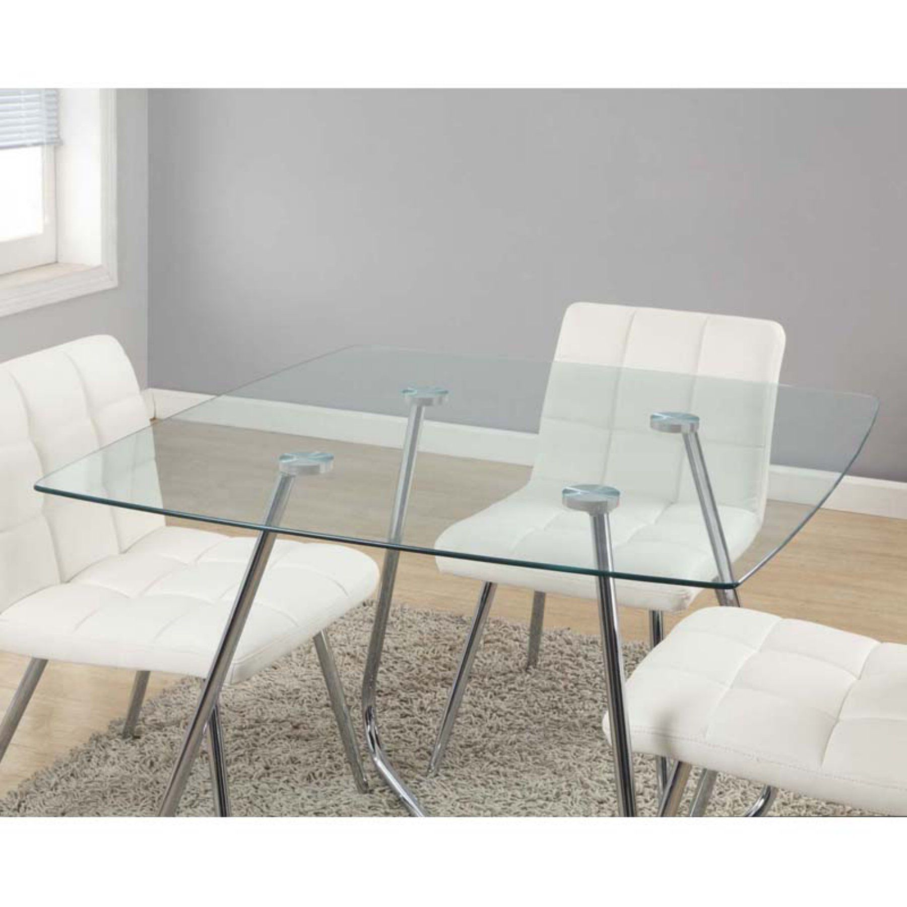 Monarch Hartly Chrome Metal & Tempered Glass Square Dining Table