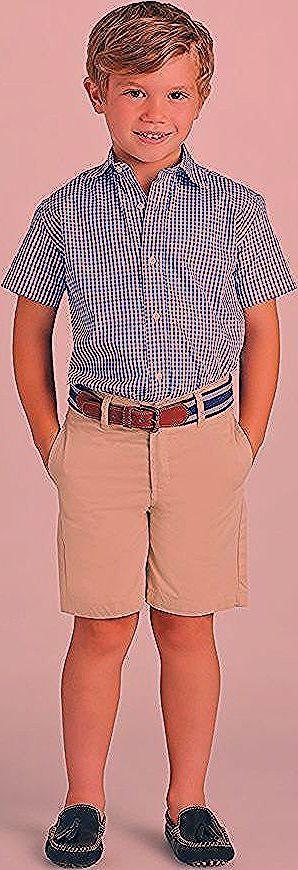 Kariertes Hemd in Blau und Weiß, Shorts, festliche Sommermode für Jungen