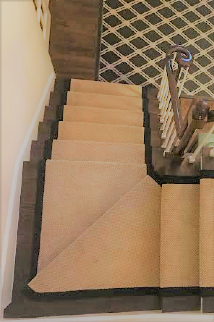 Wide Black Border Adds A Custom Detail To This Solid Color Carpet   Solid Color Stair Runners   Non Slip   Rectangle   Rubber Backed   Modern Stair   Flooring
