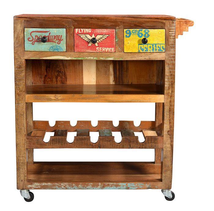 Massivholz Weinregal im Shabby Chic Look - Vintage Kommode - küchenwagen mit schubladen